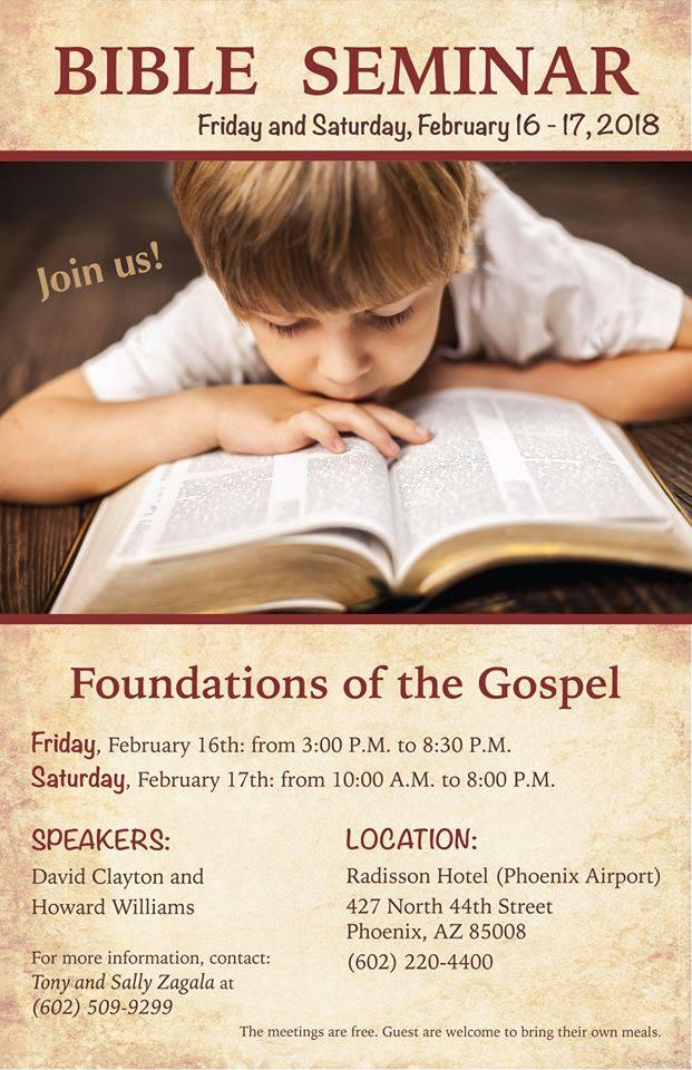 February 16-17, Phoenix AZ, Bible Seminar